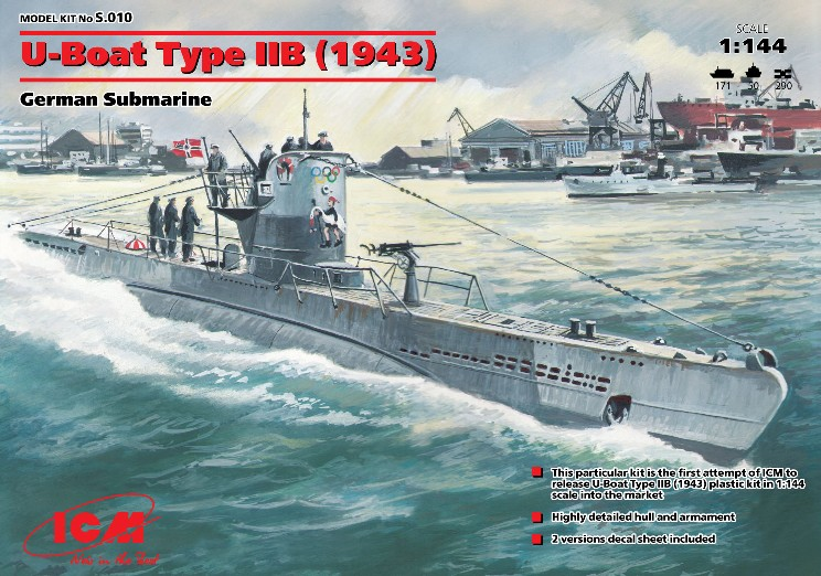ICM Models 1/144 U-Boat Type IIB German Submarine 1943