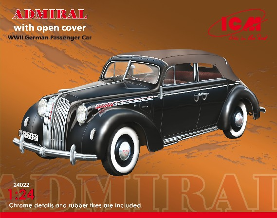 ICM Models 1/24 WWII Admiral Convertible German Passenger Car w/Cover