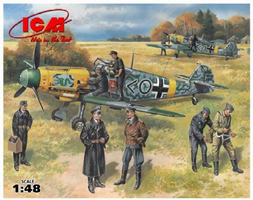ICM Models 1/48 Bf109F2 Fighter w/Pilots & Ground Personnel 1939-45 (7 Figs)