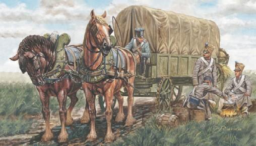 Italeri 1/32 Napolenic War: French Supply Wagon (Wagon w/2 Horses & 4 Figs)