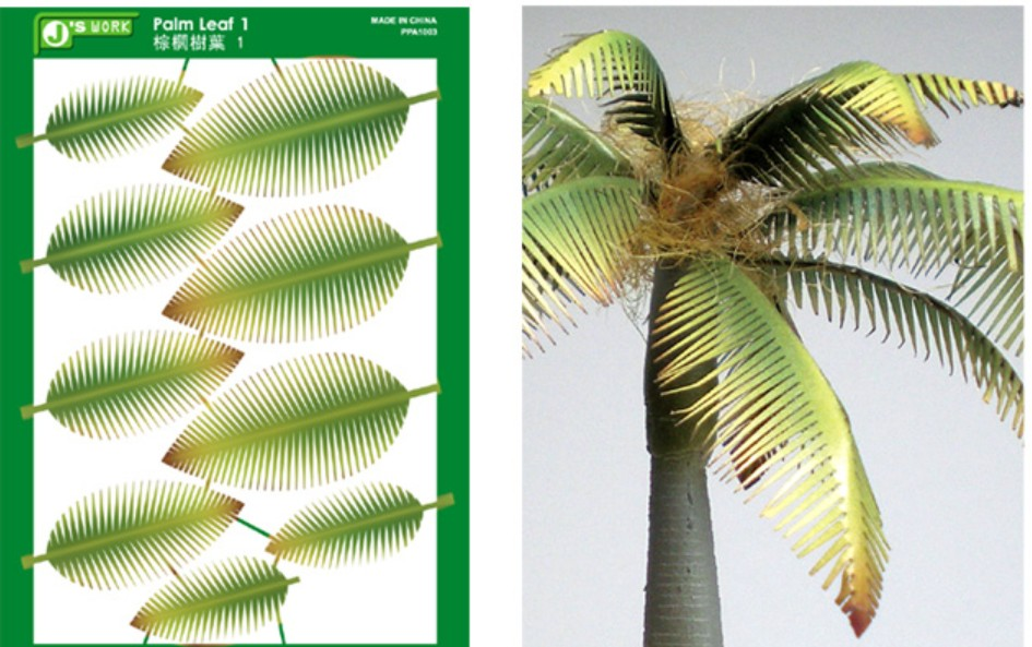 Js Work Models Multi-Scale Full Palm Leaves (Colored Paper)