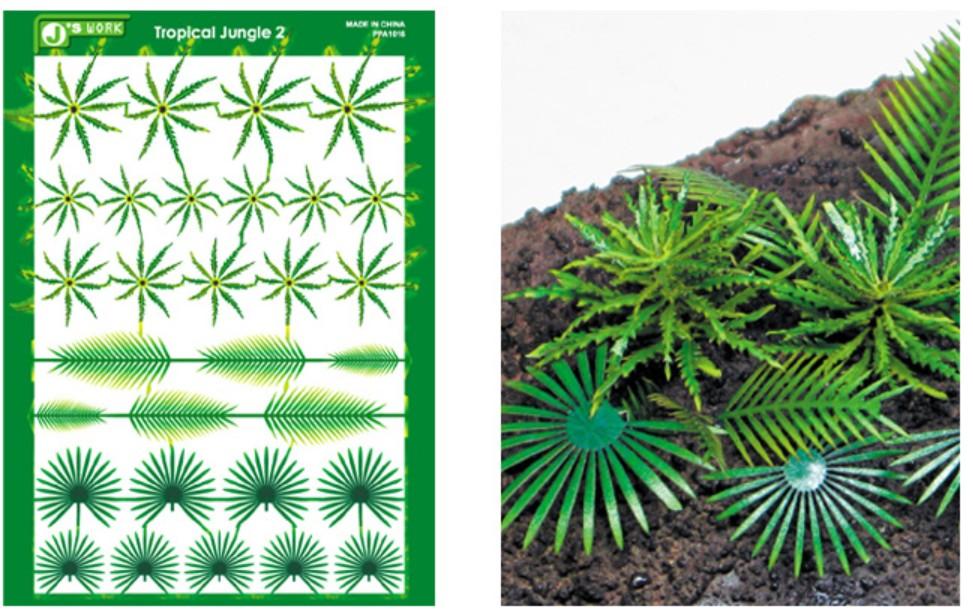 Js Work Models Multi-Scale Tropical Jungle Fern & Palm Plants (Colored Paper)