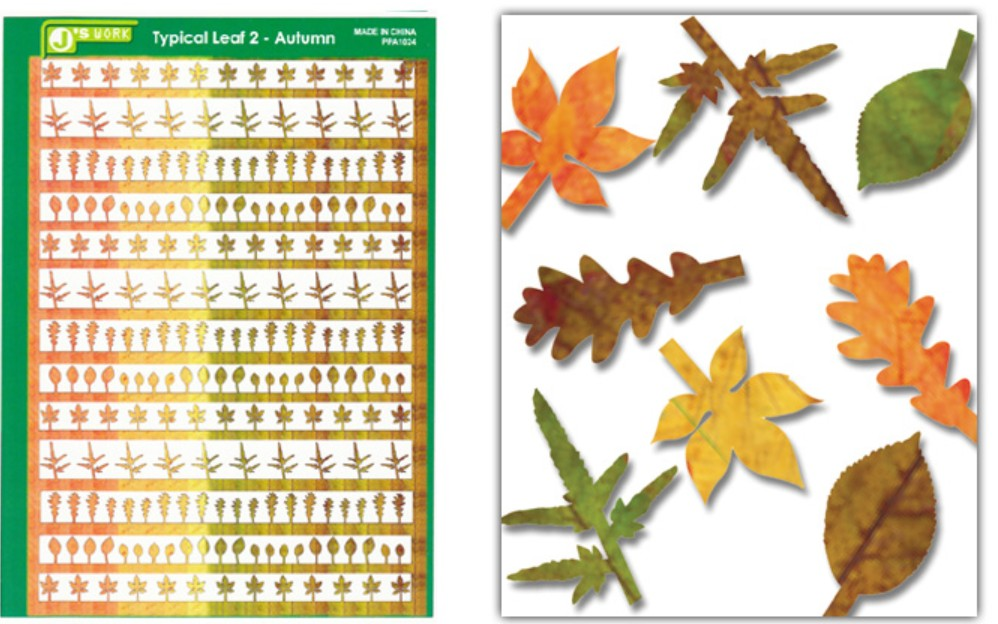 Js Work Models Multi-Scale Typical Autumn Yellow-Red Large Leaves (Colored Paper