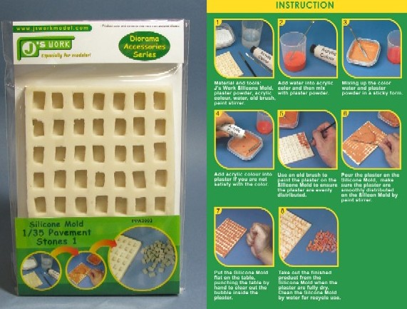 Js Work Models Silicone Mold for 1/35 Rectangle Pavement Stones