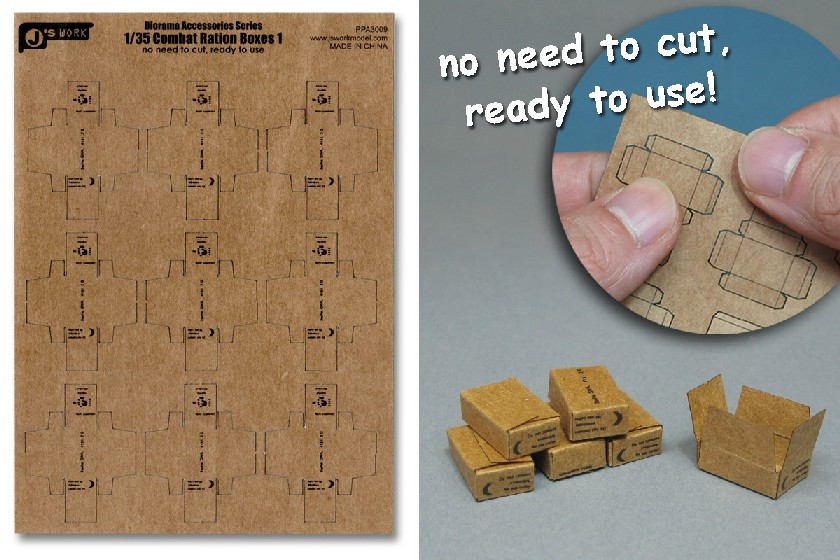 Js Work Models 1/35 Combat Ration Small Boxes (9pcs) (Pre-cut Cardboard)