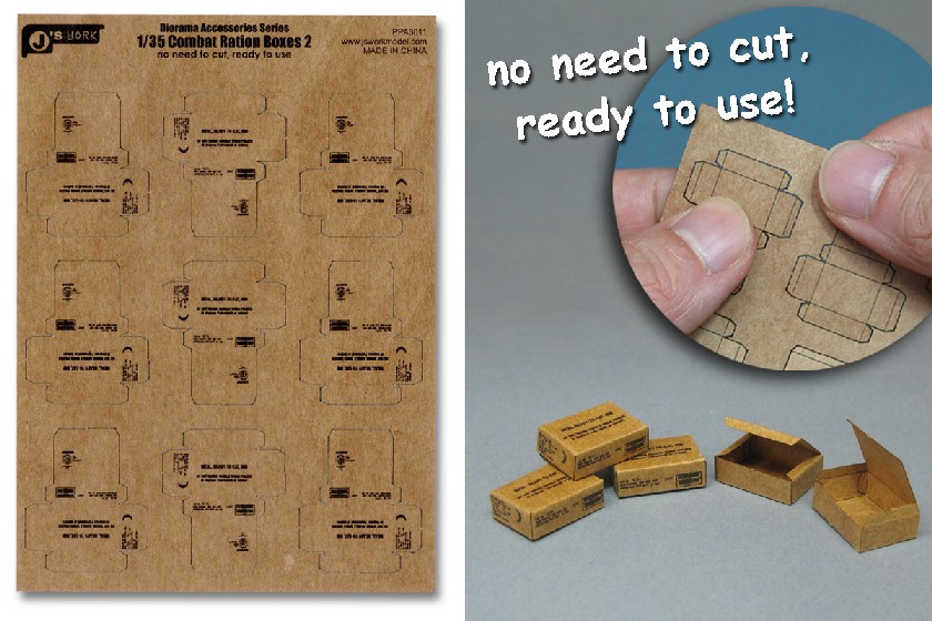 Js Work Models 1/35 Combat Ration Medium Boxes (9pcs) (Pre-cut Cardboard)