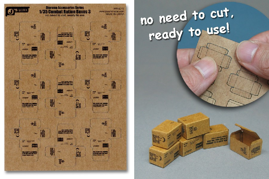 Js Work Models 1/35 Combat Ration Large Boxes (9pcs) (Pre-cut Cardboard)