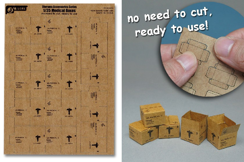 Js Work Models 1/35 US Army Medical Boxes (7pcs) (Pre-cut Cardboard)