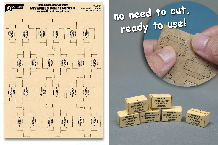 Js Work Models 1/35 WWII US Military MRE Small Boxes (12pcs) (Pre-cut Cardboard)