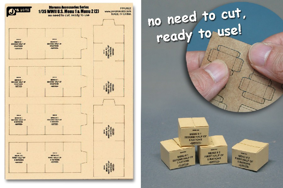 Js Work Models 1/35 WWII US Military MRE Large Boxes (6pcs) (Pre-cut Cardboard)
