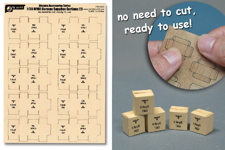 Image 0 of Js Work Models 1/35 WWII German Supplies Cartons (10pcs) (Pre-cut Cardboard)