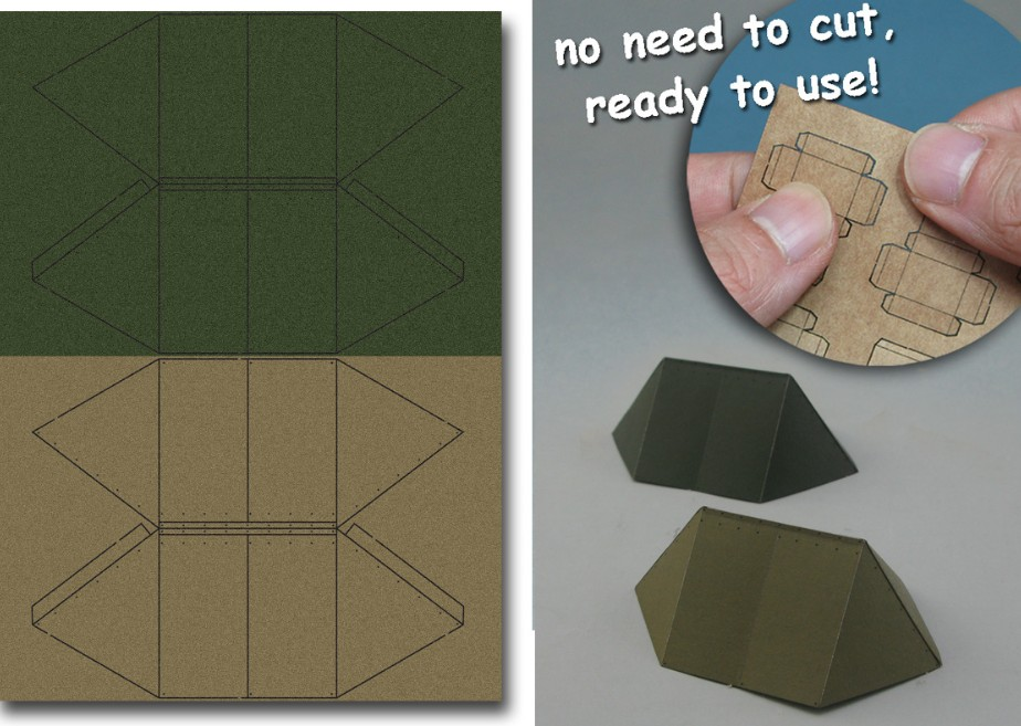 Image 0 of Js Work Models 1/35 WWII US Army Shelter Tent #1 (Olive Green & Khaki) (Pre-cut
