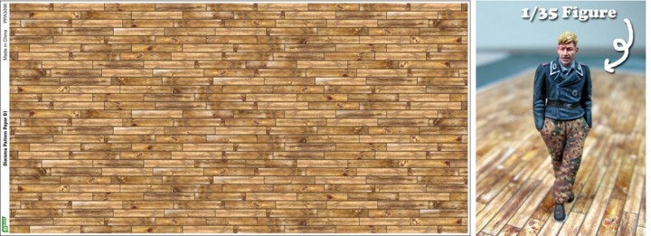 Js Work Models Dark Tone Wood Plank Diorama Pattern (2) (Colored Paper) 3096