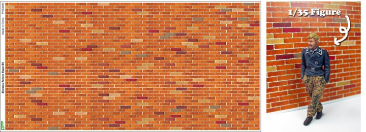 Js Work Models  Red Brick Diorama Pattern (2) (Colored Paper) 3099