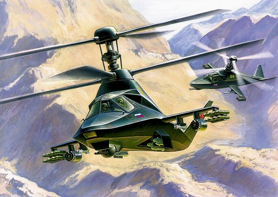 Zvezda 1/72 Ka58 Black Ghost Russian Stealth Helicopter
