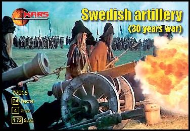 Mars Figures 1/72 Thirty Years War Swedish Artillery (24 w/4 Guns)