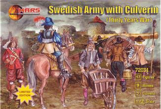 Mars Figures 1/72 Thirty Years War Swedish Army w/Large Siege Gun (17 w/9 Horses