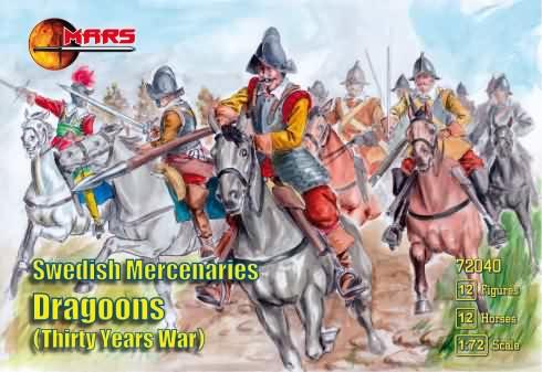 Mars Figures 1/72 Thirty Years War Swedish Mercenaries Dragoons (12 Mtd)