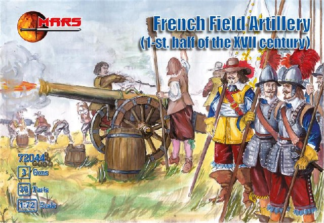 Mars Figures 1/72 1st Half XVII Century French Field Artillery (36) w/3 Cannons