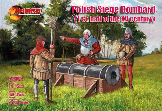 Mars Figures 1/72 1st Half XV Century Polish Siege Bombard (24) w/Guns (4)