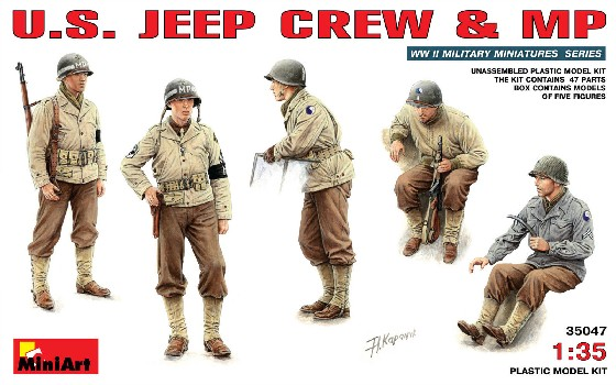 Image 0 of Miniart Models 1/35 US Jeep Crew & MP (5)