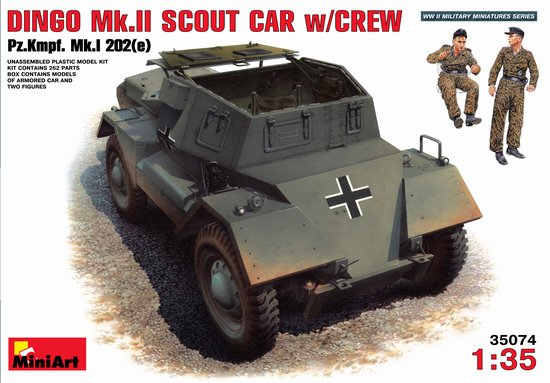 Image 0 of Miniart Models 1/35 Dingo Mk II PzKmpf Mk I 202(e) Scout Car w/2 Crew