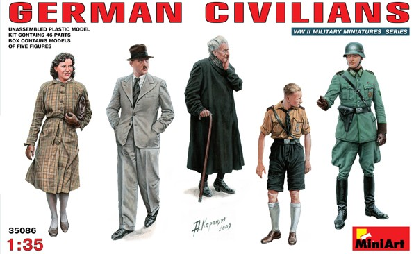 Image 0 of Miniart Models 1/35 German Civilians (3) & Soldiers (2)