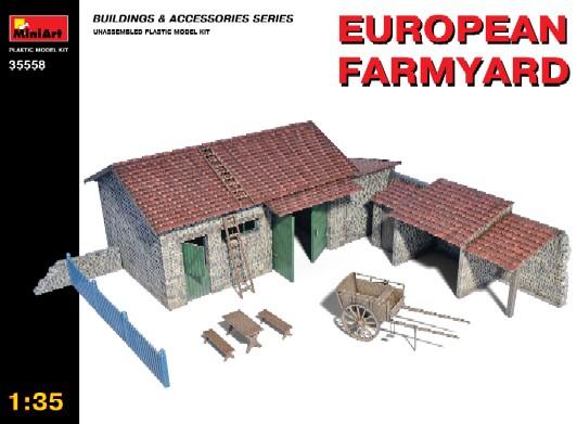 Miniart Models 1/35 European Farmyard Building, Storage Shed & Accessories