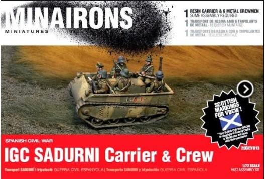Minirons Models 1/72 Spanish Civil War: IGC Sadurni Carrier (1) w/Crew (Resin)