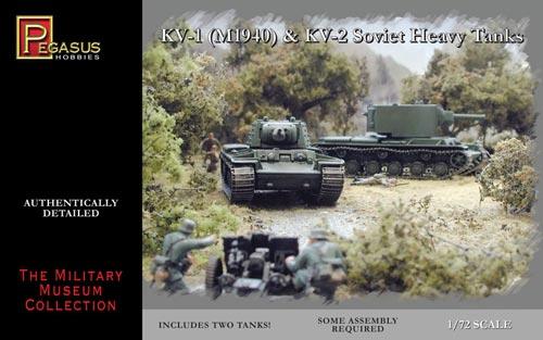 Pegasus  1/72 Soviet KV1 Mod 1940 & KV2 Tank (2) (Snap)