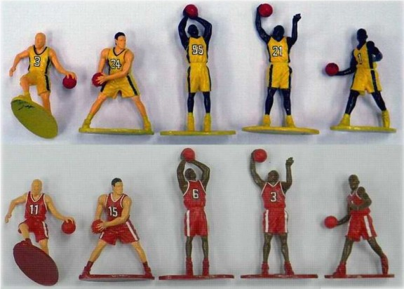 Image 0 of Basketball Action Figure Playset Yellow & Red Figures Set 102