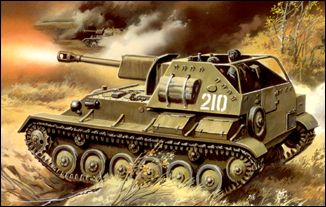 Image 0 of Unimodels Plastic Model Kit 1/72 SU76M WWII Russian Tank w/Self-Propelled Gun
