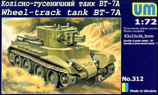 Image 0 of Unimodels Plastic Model Kit 1/72 BT7A Russian Wheel Track Tank
