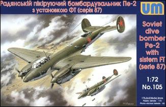 Unimodels Plastic Model Kit 1/72 Petlyakov Pe2 Soviet Dive Bomber w/FT MG Turret