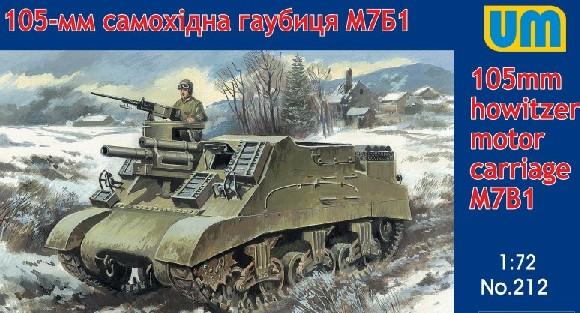 Unimodels Plastic Model Kit 1/72 M7B1 105mm Howitzer Motor Carriage Tank