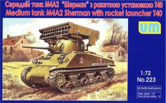 Unimodels Plastic Model Kit 1/72 M4A2 Sherman Medium Tank w/T40 Rocket Launcher
