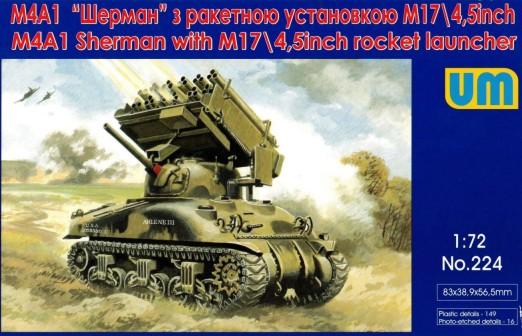 Image 0 of Unimodels Plastic Model Kit 1/72 M4A1 Sherman Tank w/M17 4.5
