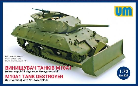 Unimodels Plastic Model Kit 1/72 M10A1 (Late) Tank Destroyer w/M1 Dozer Blade