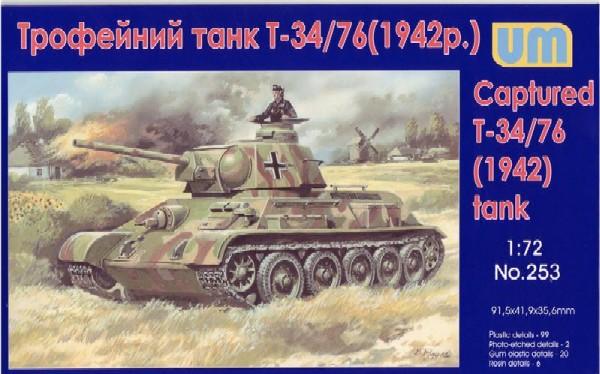 Image 0 of Unimodels Plastic Model Kit 1/72 WWII T34/76 Captured Tank 1942 (D)