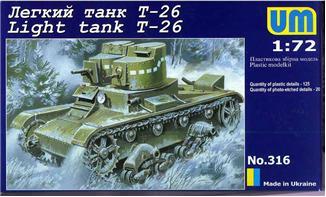 Image 0 of Unimodels Plastic Model Kit 1/72 T26 Russian Light Tank (D)