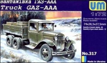 Unimodels Plastic Model Kit 1/72 GAZ-AAA WWII Russian Truck
