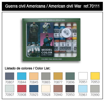 Vallejo Paints 17ml Bottle American Civil War Model Color Paint Set (16 Colors)