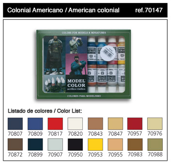 Vallejo Paints 17ml Bottle American Colonial Model Color Paint Set (16 Colors)