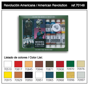 Vallejo Paints 17ml Bottle American Revolution Model Color Paint Set (16 Colors)