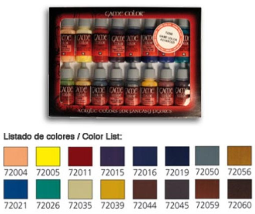 Vallejo Paints 17ml Bottle Advanced Game Color Paint Set (16 Colors)