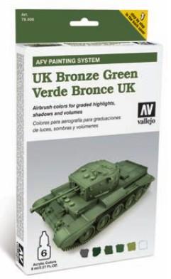Vallejo Paints 8ml Bottle UK Bronze Green AFV Paint Set (6 Colors)