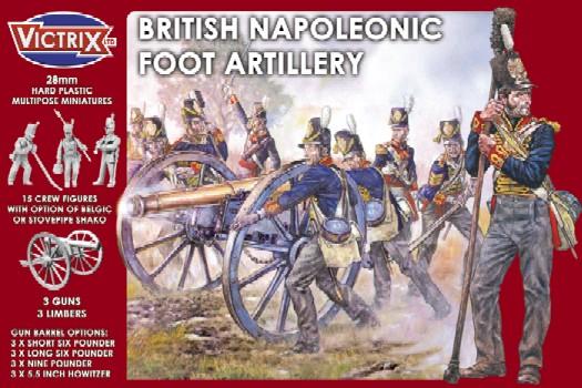 Victrix LTD Figures 28mm British Napoleonic Foot Artillery (15 w/3 Guns & Limber