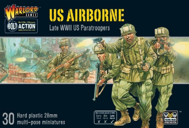 Warlord Games 28mm Bolt Action: WWII Late US Airborne Paratroopers (30) (Plastic