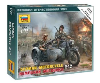Zvezda 1/72 German R12 Motorcycle w/Sidecar & 2 Crew (Snap)