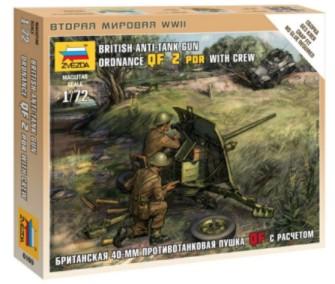 Zvezda 1/72 British QF 2-Pdr Anti-Tank Gun w/2 Crew (Snap)